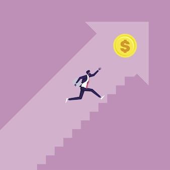 Scale che portano al concetto di successo uomo d'affari che corre su per le scale per raggiungere gli obiettivi