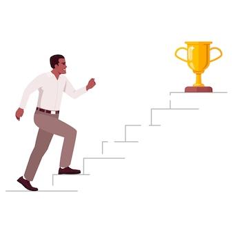 Scala verso l'illustrazione vettoriale di colore rgb semi piatto di successo. il lavoratore che sale i gradini della scala di carriera ha isolato il personaggio dei cartoni animati su fondo bianco. concetto di raggiungimento degli obiettivi aziendali