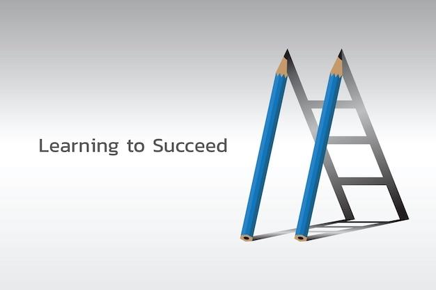 Scala per il successo., due matite e scala d'ombra., imparare ad avere successo concetto.