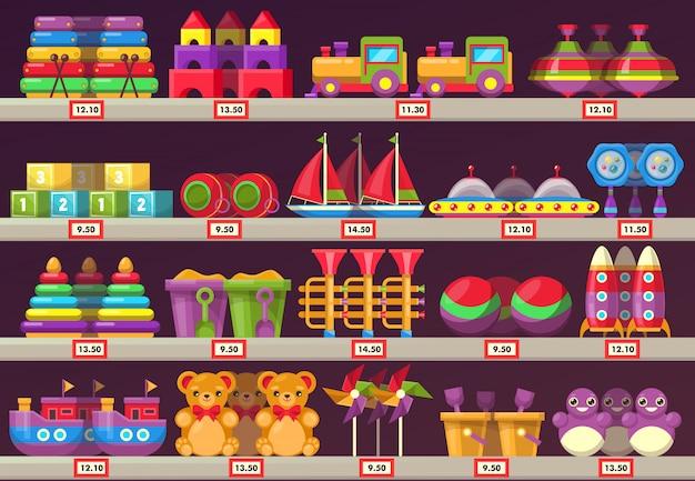 Bancarella o vetrina con giochi per bambini o bambini