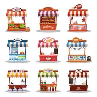 Illustrazione del mercato di stallo. chiosco del mercato alimentare con set di fastfood, stand e marketplace