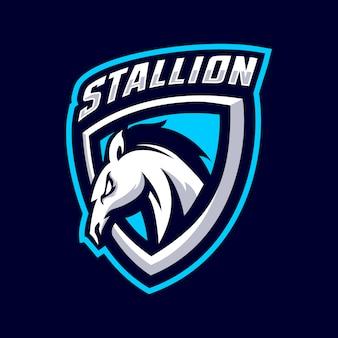 Logo della mascotte stallone Vettore Premium