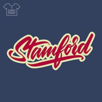 Logo della città di stamford america in stile vintage grunge. per la stampa su souvenir. illustrazione vettoriale.
