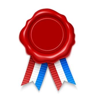 Timbro, illustrazione realistica 3d. sigillo di cera rossa con nastri colorati, isolato su bianco