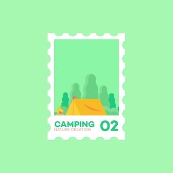 Illustrazione sveglia di campeggio di vettore dell'icona di stile del bollo del bollo Vettore Premium