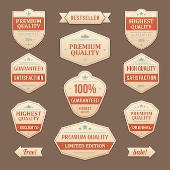 Sconti di francobolli e adesivi bestseller. etichetta vintage sbiadita con le migliori offerte di marketing di promozione in pelle rossa. garanzia di lusso massima qualità dell'emblema originale con focus aziendale.