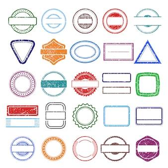 Telai in gomma per timbri. modelli di francobolli di forme grunge rotondi e quadrati che graffiano
