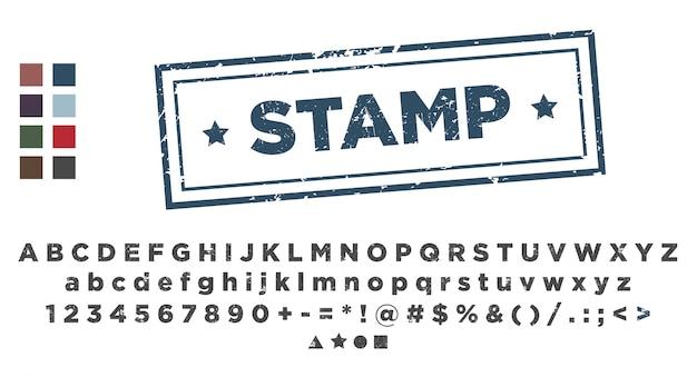 Modello di timbro. stampaggio dei caratteri alfabetici.