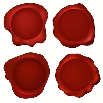 Set di sigilli di cera per timbri, marchio di ceralacca rossa, vecchie etichette realistiche per lettere, documenti e posta. etichetta di affrancatura realistica. vettore