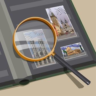 Illustrazione di francobolli lente d'ingrandimento. pinzette. album.filatelia.