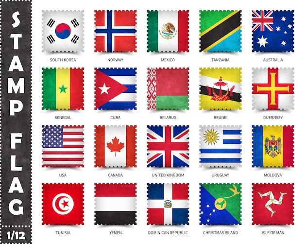 Set di francobolli di bandiere ufficiali dei paesi del mondo