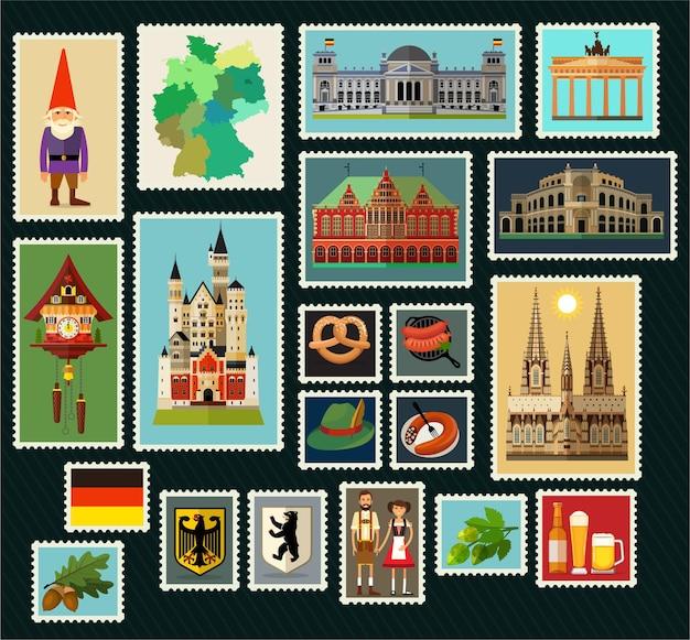 Francobolli con architettura storica della germania. illustrazione.