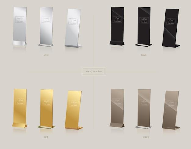 Stand display scudo banner, colore argento dorato nero e rame