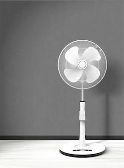 Stand fan nell'illustrazione 3d con sfondo interno accogliente
