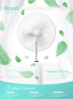 Ventilatore in piedi che muove l'aria nell'illustrazione 3d, tenda pura e foglie verdi che soffia nell'aria, pubblicità dell'apparecchio