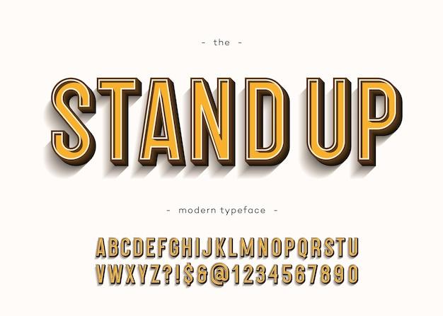 Alzarsi in piedi alfabeto moderno tipografia sans serif 3d stile audace per il libro