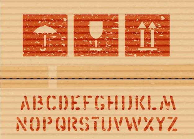 Carico standard grunge icona scatola segni e alfabeto per carico e logistica ombrello, vetro, frecce su cartone. illustrazione vettoriale
