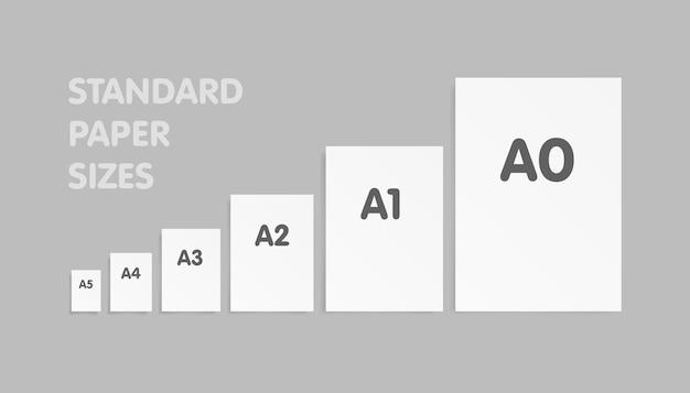 Formati carta standard un set di serie. illustrazione vettoriale.