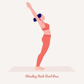 In piedi indietro bend posa di yoga giovane donna che pratica esercizio di yoga