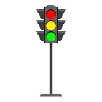Icona di design piatto semaforo in piedi tipici segnali stradali orizzontali con luce rossa, gialla e verde.