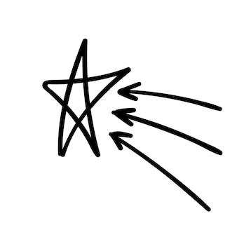 Illustrazione del handdraw di scarabocchio di vettore della freccia della stella