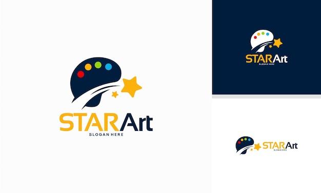 Il logo star art progetta il concetto, il modello del logo iconic star painting