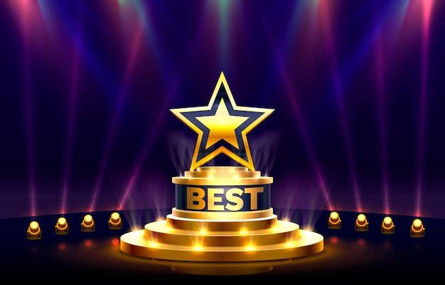 Oggetto d'oro del segno del premio del podio migliore della stella