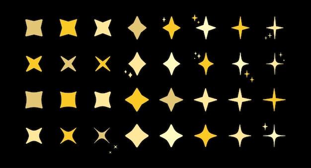 Insieme dell'icona del modello di art deco della scintilla di scoppio della stella. collezione di modelli isolati scintillanti a forma di stella d'oro