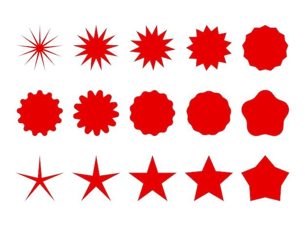 Star burst a forma di stella retrò rossa alla moda starburst