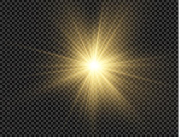 La stella è esplosa di brillantezza, bagliore stella luminosa, luce incandescente su uno sfondo trasparente