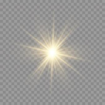 La stella scoppiò di splendore, brillò di stella luminosa, la luce gialla splendente scoppiò su uno sfondo trasparente.
