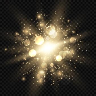 La stella ha scoppiato con le scintille e l'illustrazione del bokeh