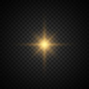 La stella è scoppiata di scintillii. stella luminosa glitter oro.