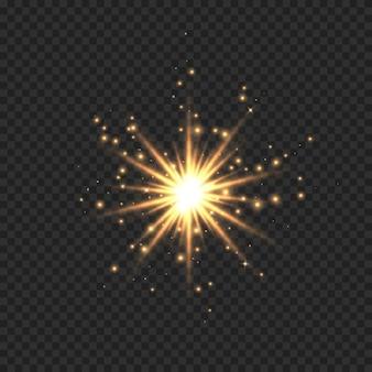 La stella è esplosa di scintillii. effetto bagliore di luce dorata con stelle, scintillii e glitter isolati su sfondo trasparente. illustrazione della stella splendente bagliore con polvere di stelle, riflesso lente d'oro.