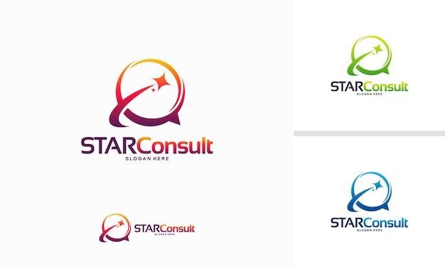 Star consult logo progetta il vettore di concetto, il modello di logo iconic consulting