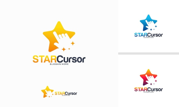 Il logo star cursor progetta il concetto, il vettore iconico del modello del logo star tech