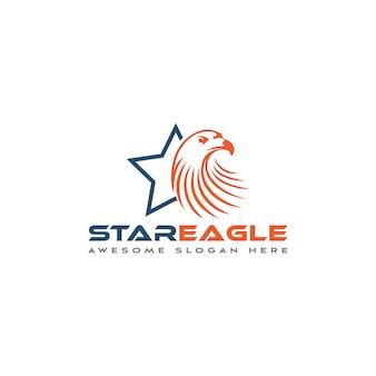Modello di logo stella e aquila
