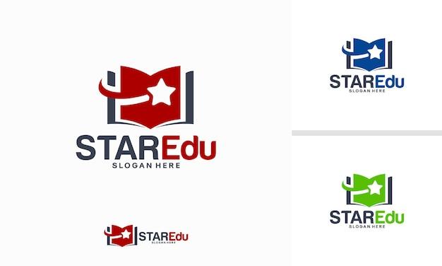 Il logo star education progetta il concetto, il vettore del modello del logo della scuola elite