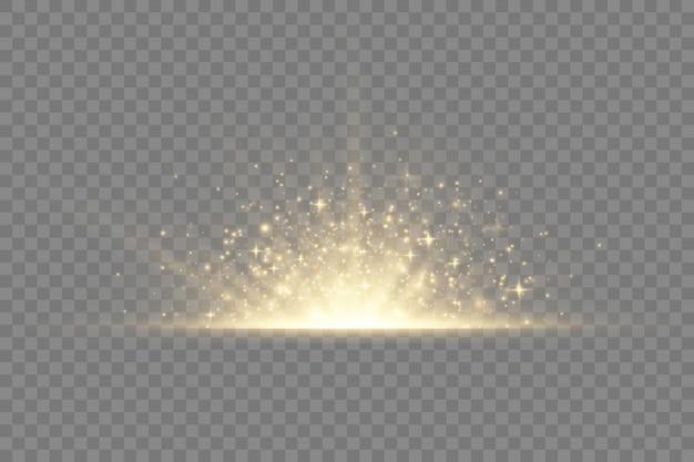 Esplosione di stelle su sfondo trasparente, bagliore giallo luci raggi del sole, effetto speciale bagliore con raggi di luce e bagliori magici, stella dorata luminosa e brillante,