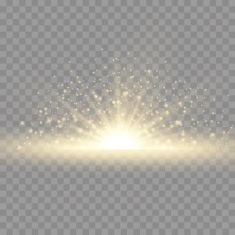 Stella esplosione bagliore giallo illumina i raggi del sole