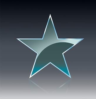 Le bandiere di vetro della stella splendono il modello di forma su fondo trasparente.