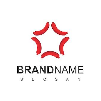 Modello di progettazione del logo di star hot dog