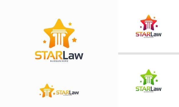 Il logo di star law progetta il vettore di concetto, il modello di logo di law shiny