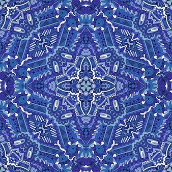 Reticolo senza giunte di doodle di arte linea stella da piastrelle blu ornamentali.
