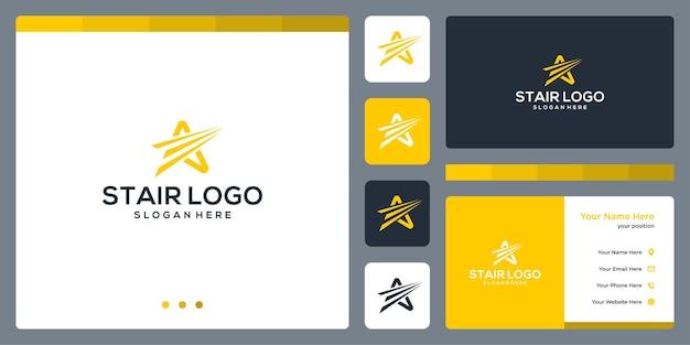 Progettazione e lancio del logo della stella. disegno del modello di biglietto da visita.