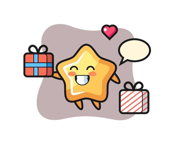 Cartone animato mascotte stella che fa il regalo, design in stile carino per maglietta, adesivo, elemento logo