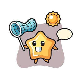 L'illustrazione della mascotte della stella sta catturando la farfalla, il design in stile carino per la maglietta, l'adesivo, l'elemento del logo