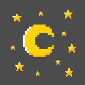Una stella e una luna in stile pixel art