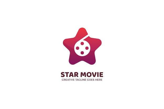 Modello di logo di cinematografia di film di stelle