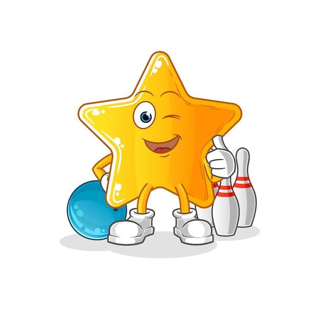 La stella gioca a bowling illustrazione.